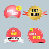 special offer sale tag price, shopping concept, banner sign discount promotion price set, flat design, vector, illustration