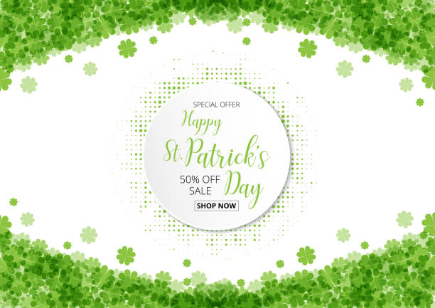 special offer sale text  badge with green  clover leaves footer special offer sale text  badge with green  clover leaves footer background, St. Patrick's Day concept nu stock illustrations