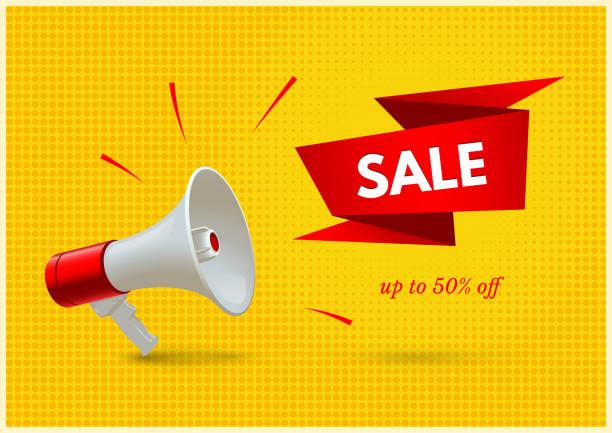 illustrations, cliparts, dessins animés et icônes de offre spéciale, bannière de concept de mot de vecteur de vente - megaphone