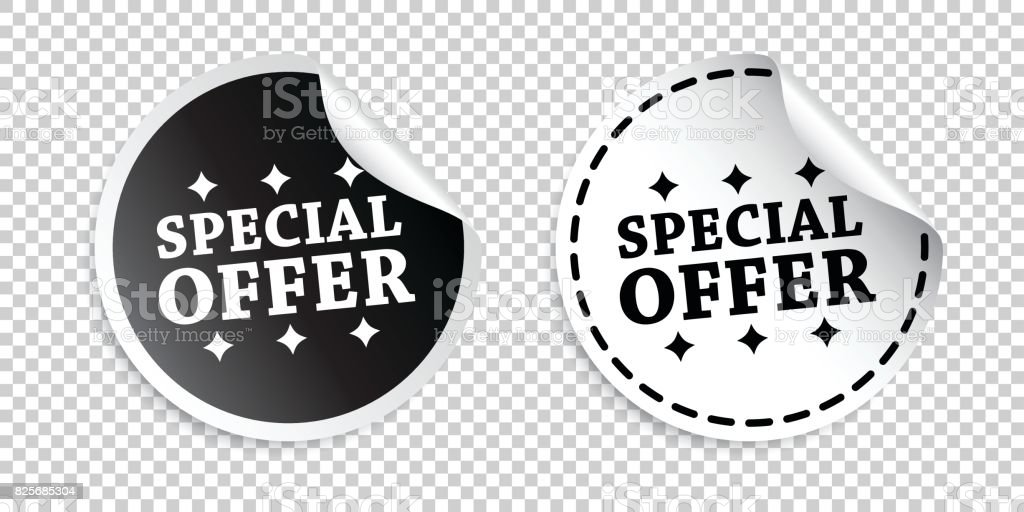 Special offer sticker. Black and white vector illustration.