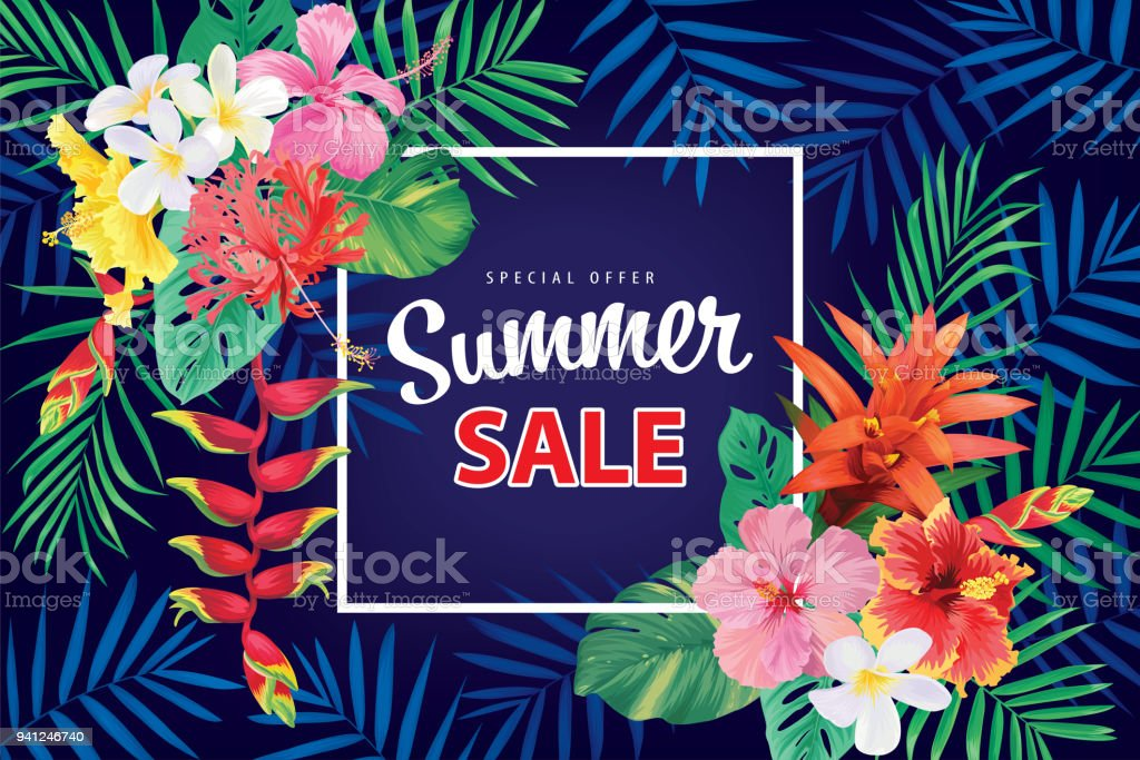Special Offer Summer Sale With Tropical Hibiscus Flowers Frame And