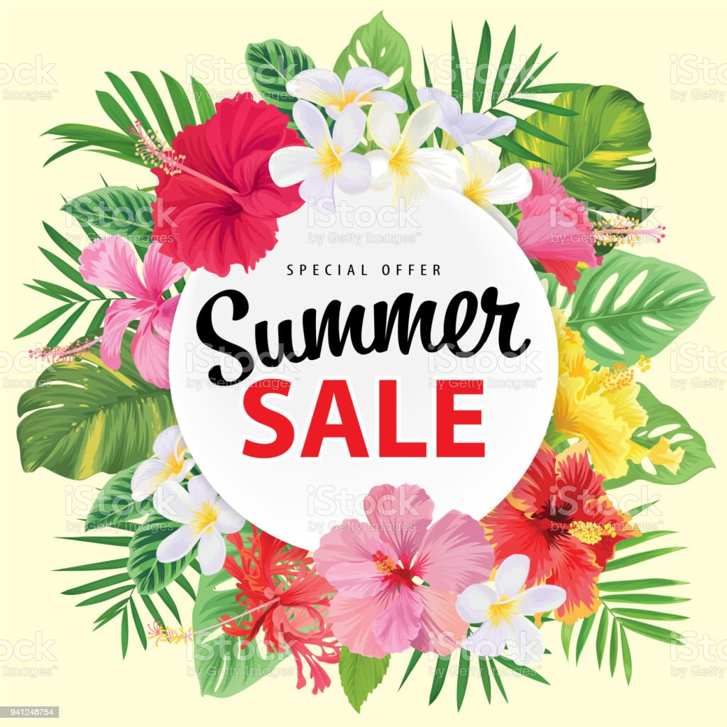 Special offer summer sale with tropical hibiscus flowers frame and special offer summer sale with tropical hibiscus flowers frame and palm leaf on yellow background template izmirmasajfo