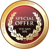 Special offer advertisement award with a laurel.