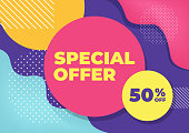 Special offer with colorful geometric shapes banner.