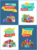 Special promotion and offer hot price natural products guarantee. Gifts and presents boxes of different shapes. Sales and discounts buy now vector