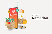 Special Ramadan banners on Mobile phone, discount and best offer tag, label or sticker set on occasion of Ramadan Kareem and Eid Mubarak, vector illustration