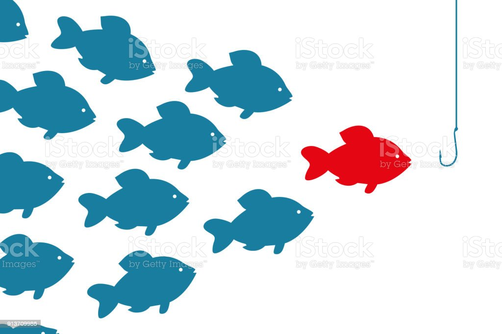 special red fish going to bait. Target audience concept vector art illustration