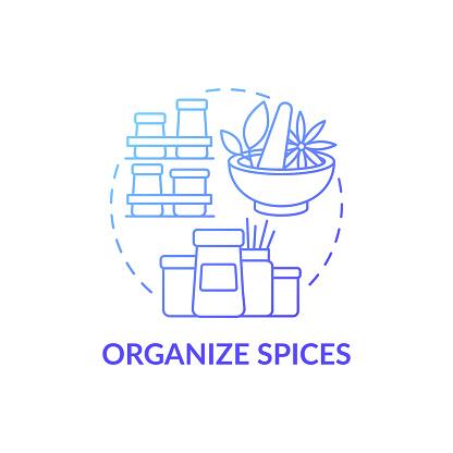 Special spice organizers blue gradient concept icon