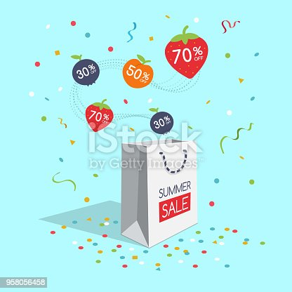 Special summer sale symbol with shopping bag, flying colorful fruit labels and confetti