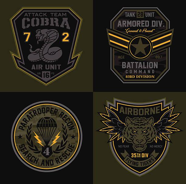 ilustrações, clipart, desenhos animados e ícones de unidade especial de patches militar - forças armadas