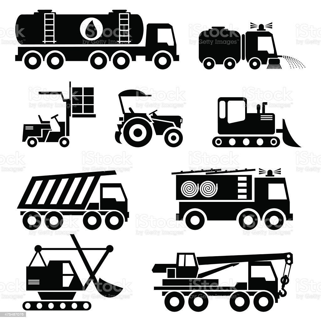 special vehicles icons vector art illustration