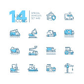 Special vehicles - line design blue icons set. Police car, fire engine, ambulance, aerial platform, tow, snowplow, sprinkler, wrecker, dump, line marking truck, taxi, multicar, emergency response