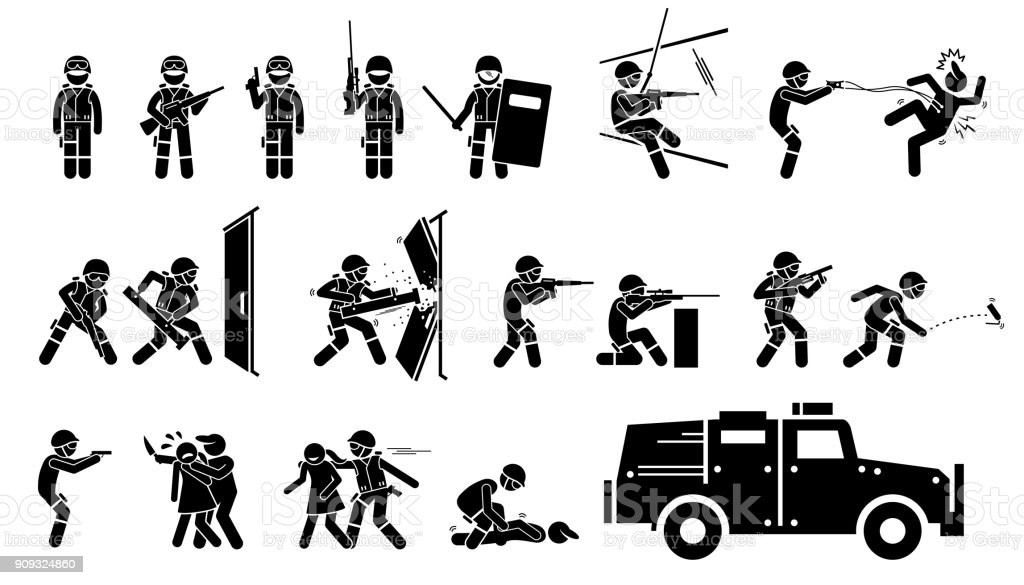 SWAT Special Weapons and Tactics Icons. vector art illustration