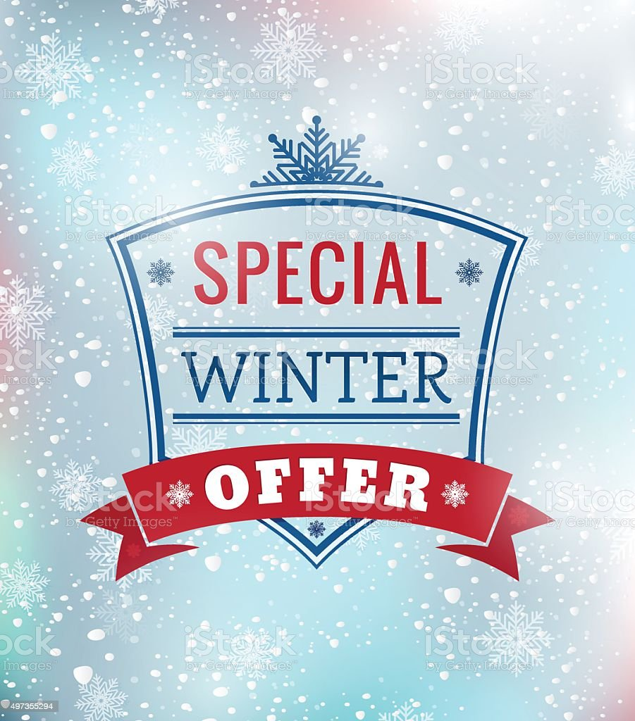 Offer: Special Winter Offer Typography Poster Illustration Stock