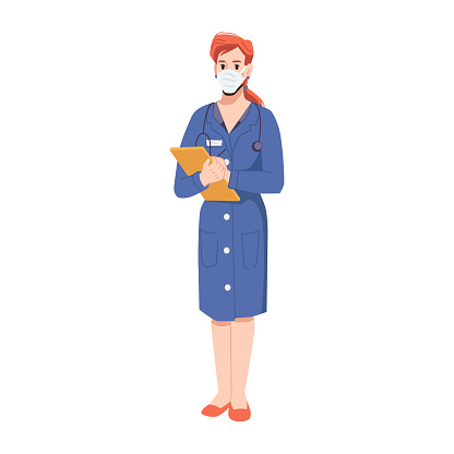 Specialist in medical sphere, female personage working in hospital or clinics. Lady wearing mask and holding documents. Professional health care in clinics. Cartoon character, vector in flat style