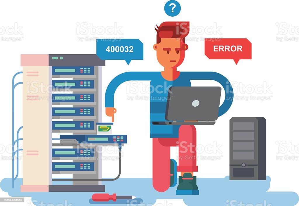 IT Specialist network vector art illustration