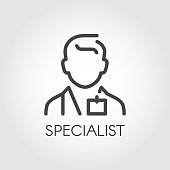 Specialist of medical sciences, doctor, consultant outline icon. Portrait of male doc. Profession of helping people symbol