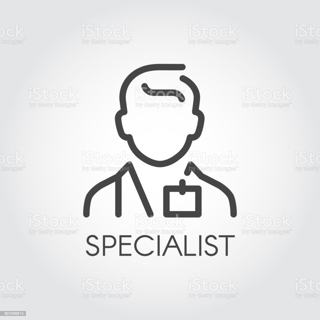 Specialist of medical sciences, doctor, consultant outline icon. Portrait of male doc. Profession of helping people symbol vector art illustration