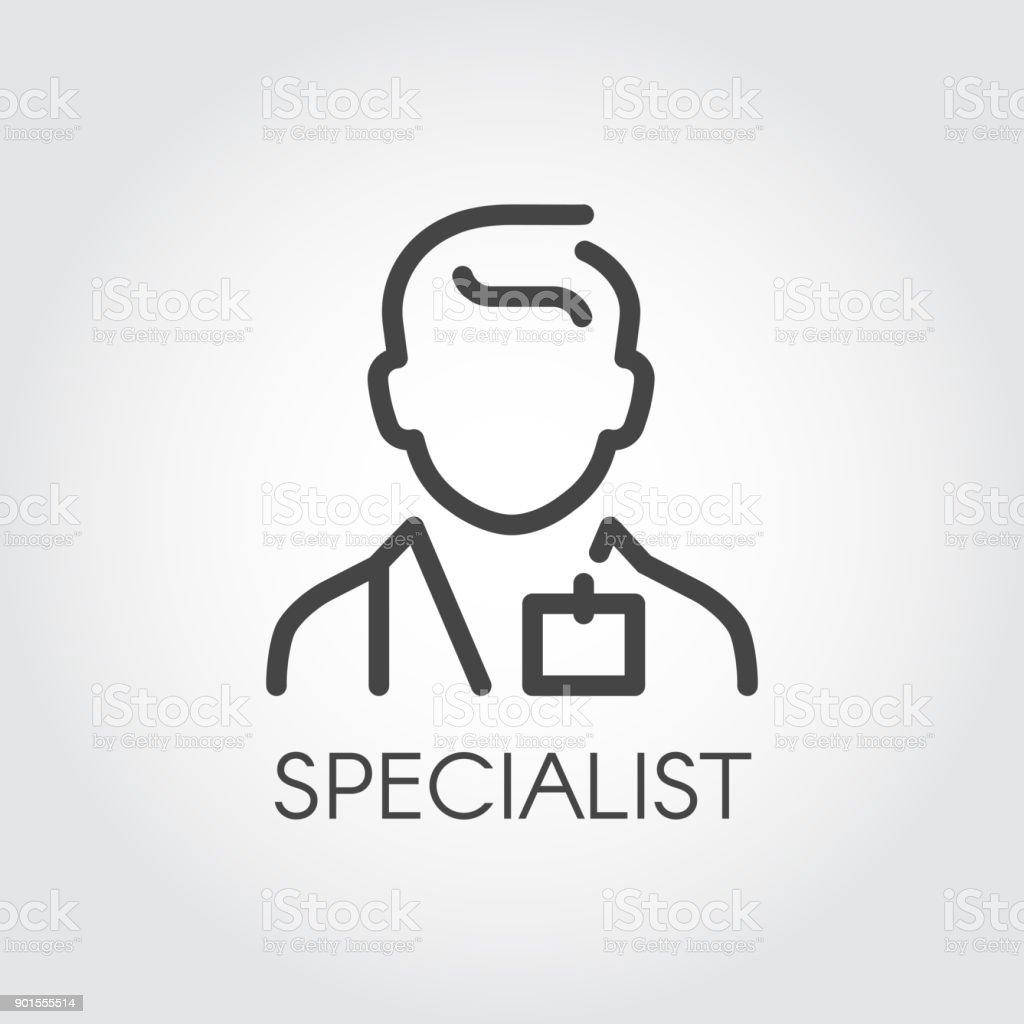 Especialista en ciencias médicas, médico, Consultor esquema icono. Retrato de hombre doc profesión ayudar a símbolo de la gente - ilustración de arte vectorial