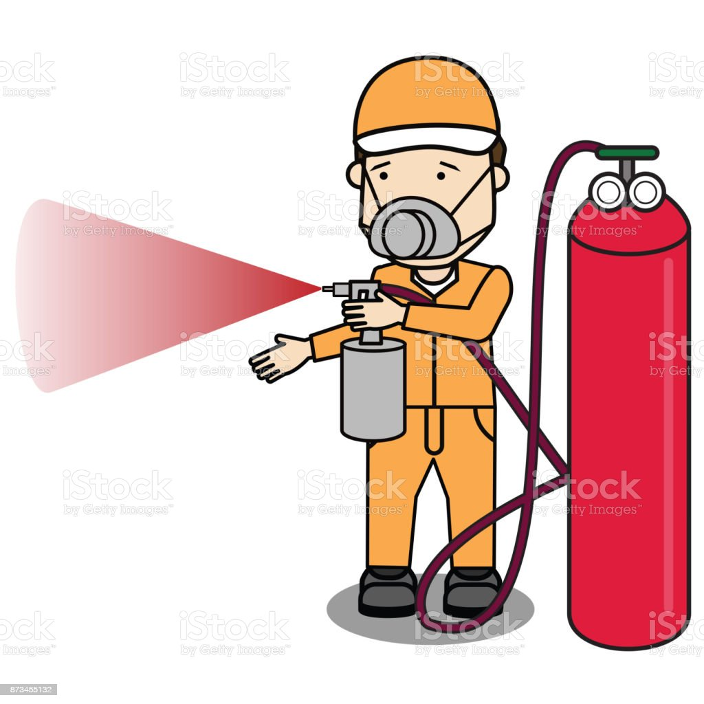 Specialist spray color isolate on shop. vector art illustration