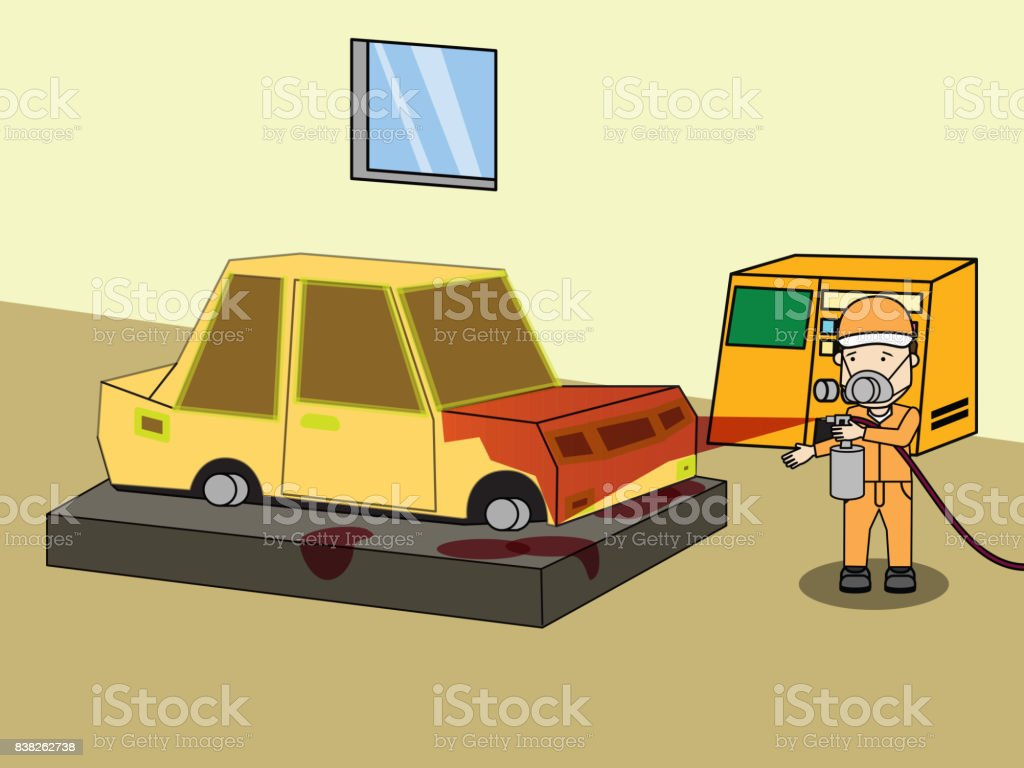 Specialist spray painting auto body at car collision repair shop. vector art illustration