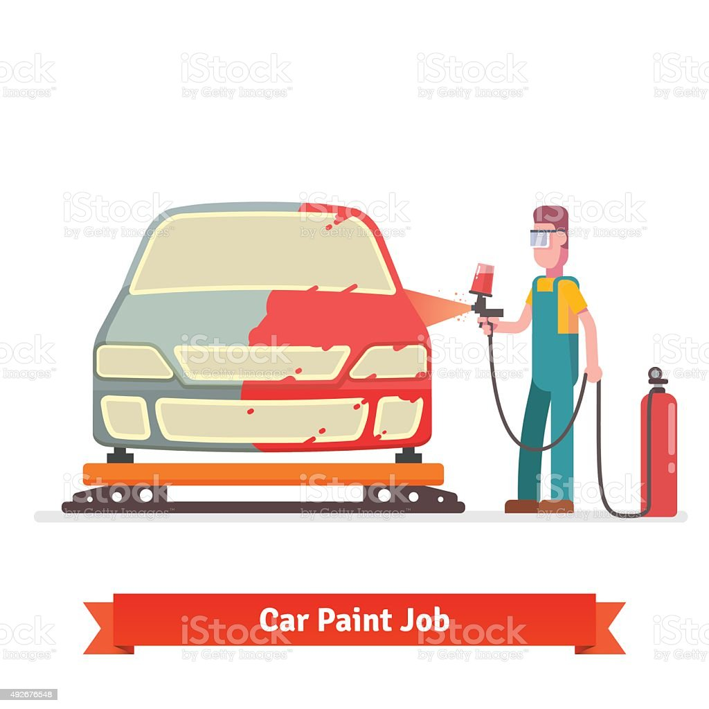 Specialist spray painting auto body vector art illustration