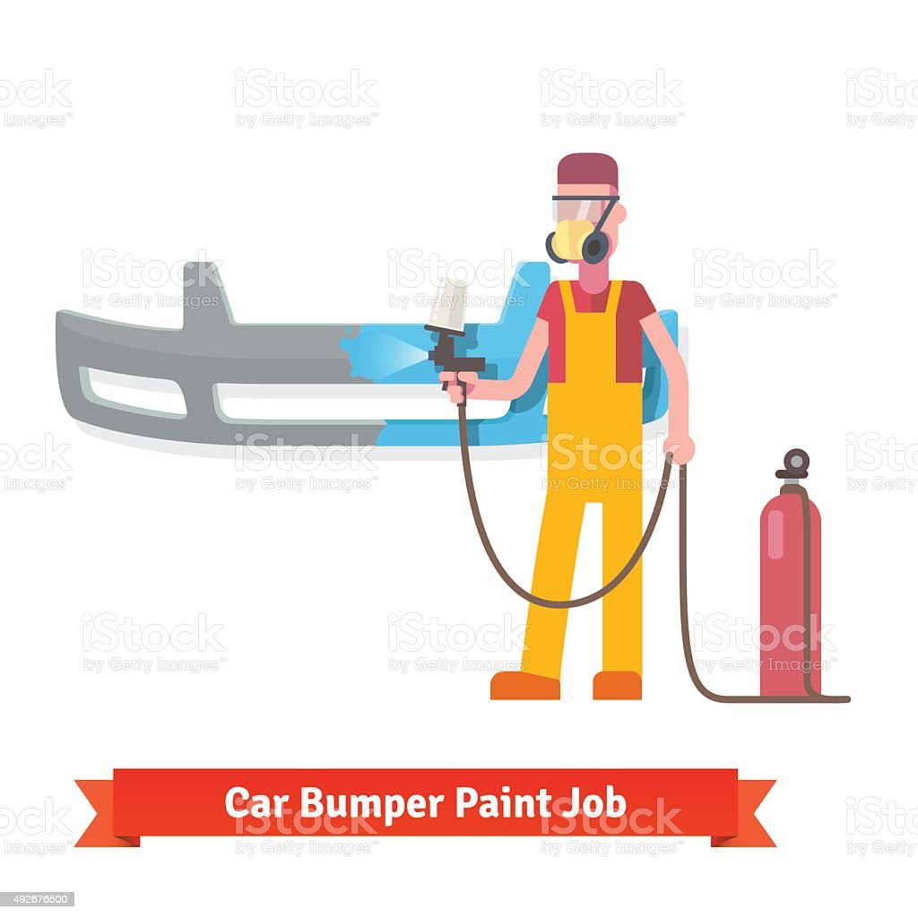 Specialist spray painting auto bumper vector art illustration
