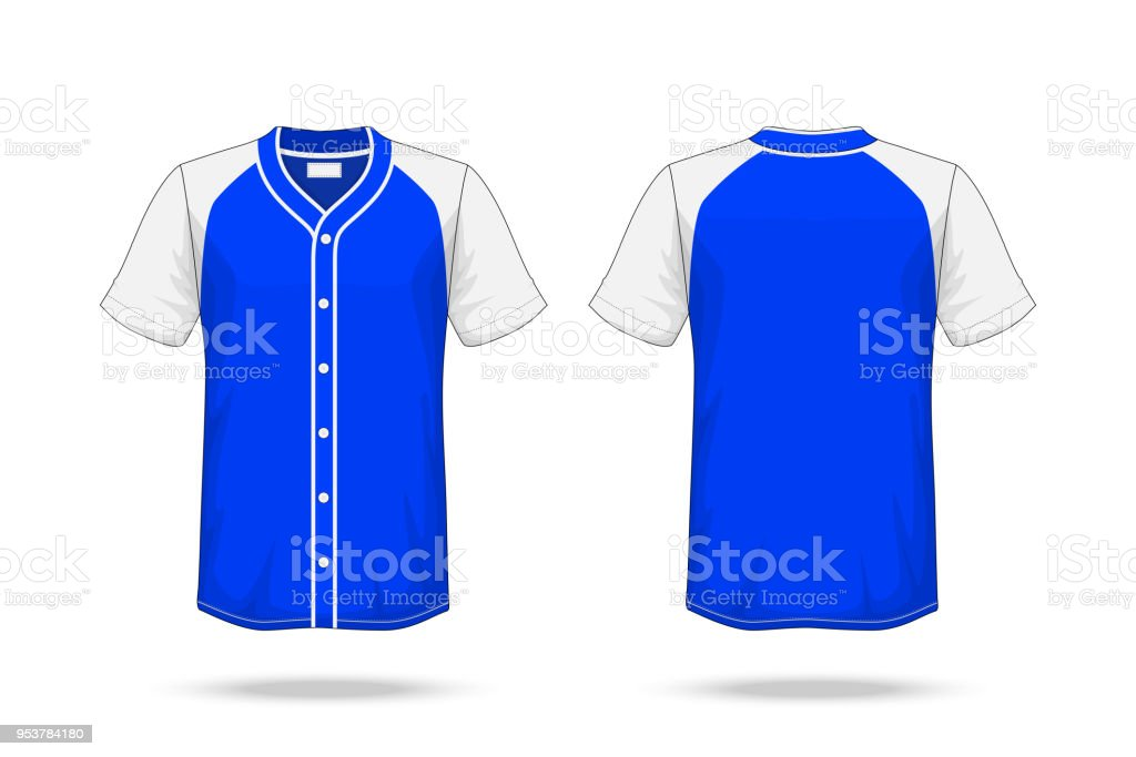 Specification Baseball T Shirt Blue white Mockup isolated on white background , Blank space on the shirt for the design and placing elements or text on the shirt , blank for printing , illustration vector art illustration