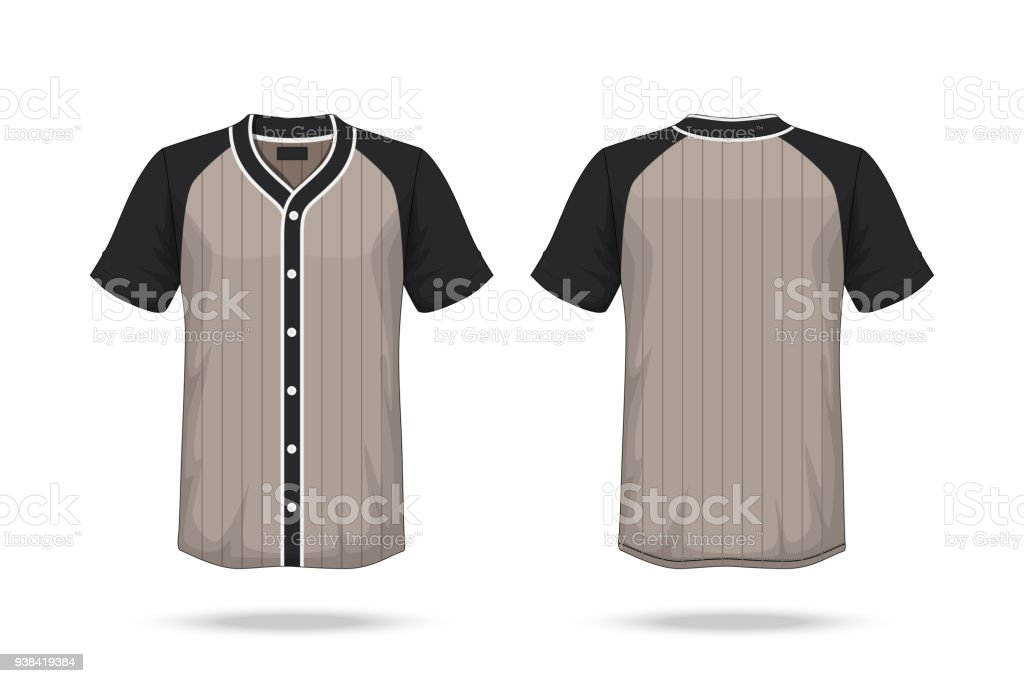 Specification Baseball T Shirt Brown Black Mockup Isolated On White Background Blank Space The