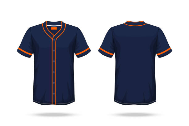 Specification Baseball T Shirt Dark Blue orange Mockup isolated white background , Blank space on the shirt for the design and placing elements or text on the shirt , blank for printing , illustration vector art illustration