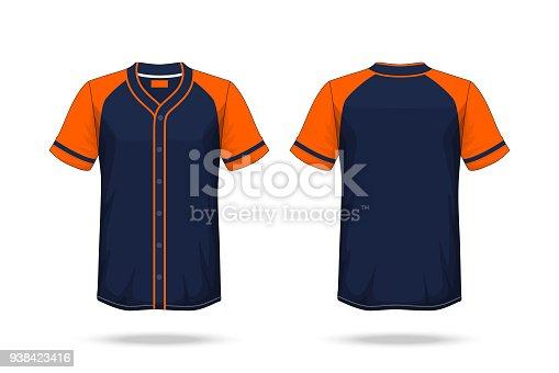 6138cf36e023 Specification Baseball T Shirt Dark Blue orange Mockup isolated white  background