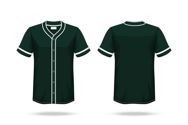 Specification Baseball T Shirt Dark Green Mockup isolated white background , Blank space on the shirt for the design and placing elements or text on the shirt , blank for printing , illustration vector art illustration