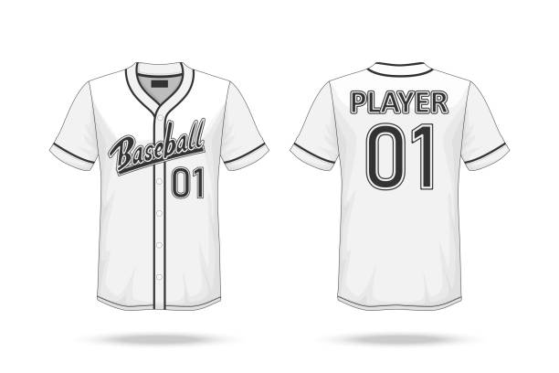 Specification Baseball T Shirt Mockup  isolated on white background , A sample design elements or text number on the shirt , blank for printing , vector illustration vector art illustration