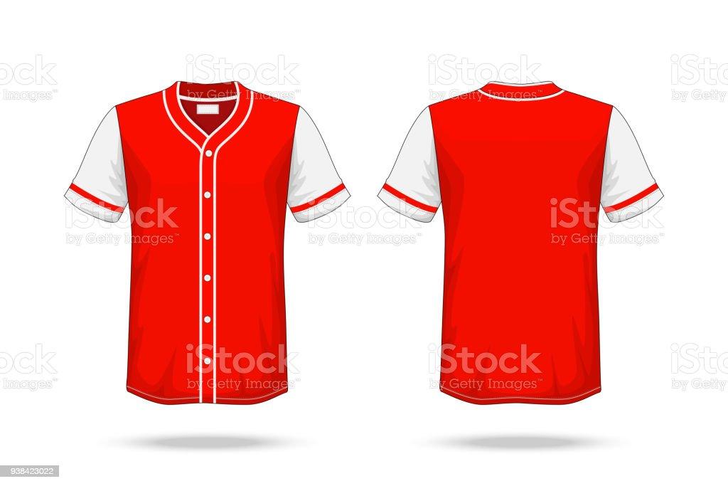 Ilustración de Especificación De Béisbol T Shirt Roja Maqueta Blanco ...