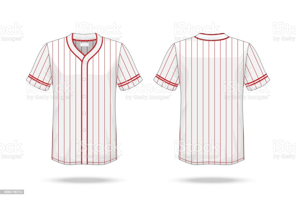 Specification Baseball T Shirt white red Mockup  isolated on white background , Blank space on the shirt for the design and placing elements or text on the shirt , blank for printing , illustration vector art illustration