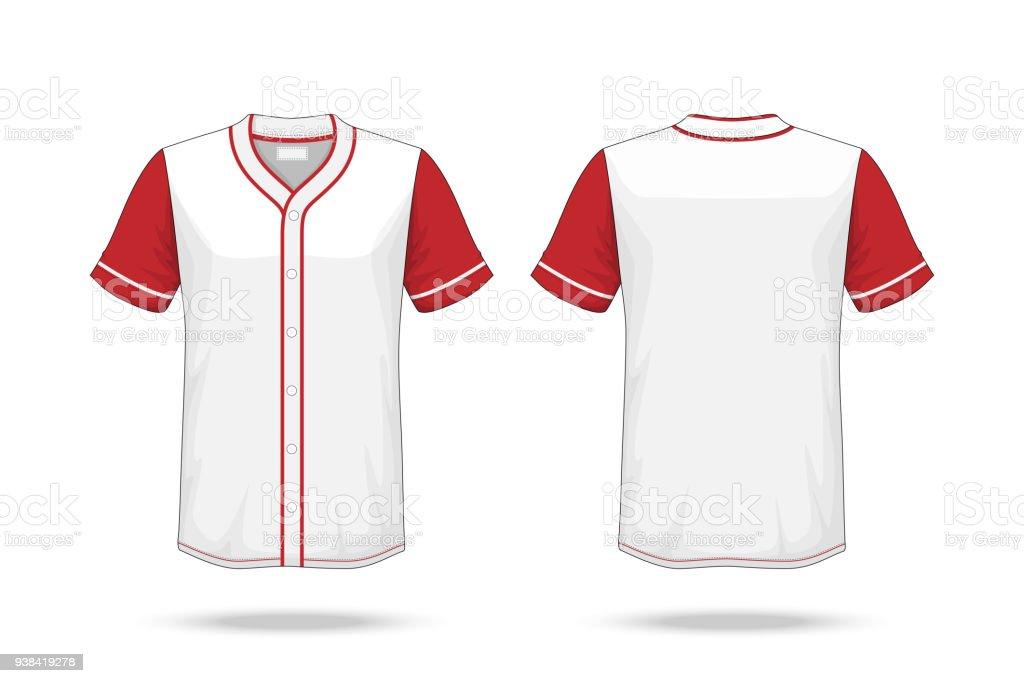 Ilustración de Especificación De Béisbol T Shirt Blanca Maqueta Rojo ...