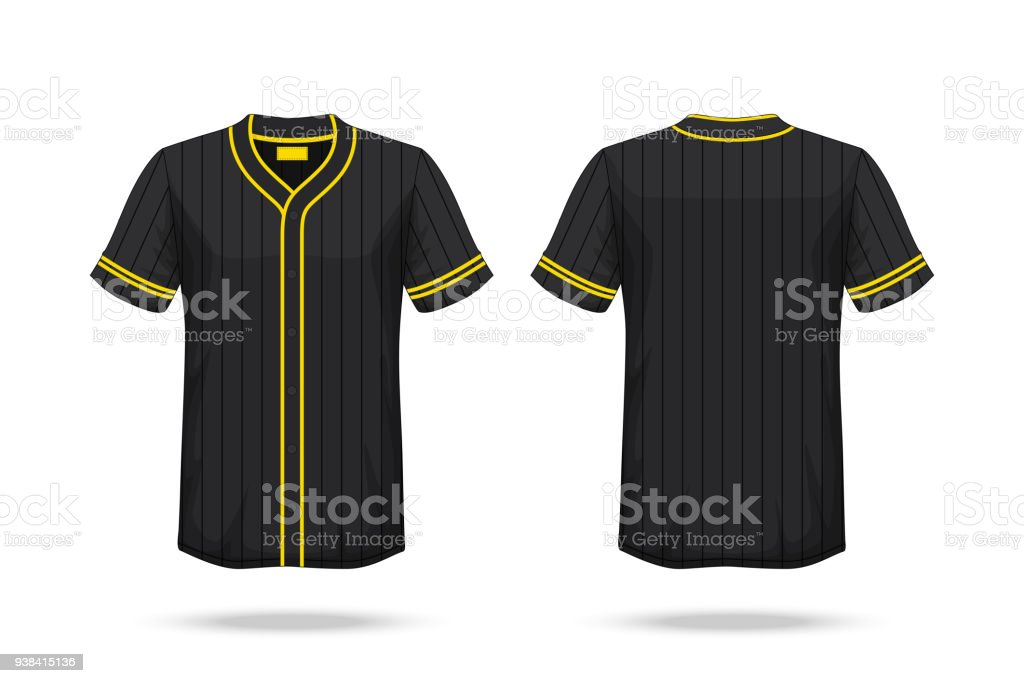 Specification Baseball T Shirt yellow black Mockup  isolated on white background , Blank space on the shirt for the design and placing elements or text on the shirt , blank for printing , illustration vector art illustration