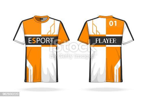 Specification Soccer Sport , Esport Gaming T Shirt round neck Jersey template. mock up uniform . Vector Illustration design