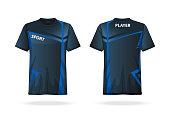 Specification Soccer T Shirt round neck Jersey template. mock up football uniform . Vector Illustration design