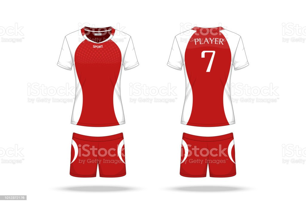 specification volleyball jersey isolated on white background sport t shirt round neck and short pants