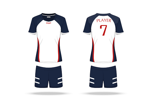 Specification Volleyball Jersey isolated on white background , Sport T Shirt round neck and short pants template. mockup team uniform . Vector layers , Illustration design