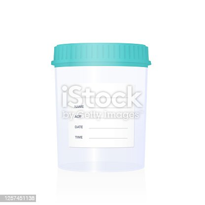 Specimen cup, empty with blank sticker to be labeled, medical laboratory item for examinations, checkups, clinical analysis and diagnosis. Isolated vector illustration on white background.
