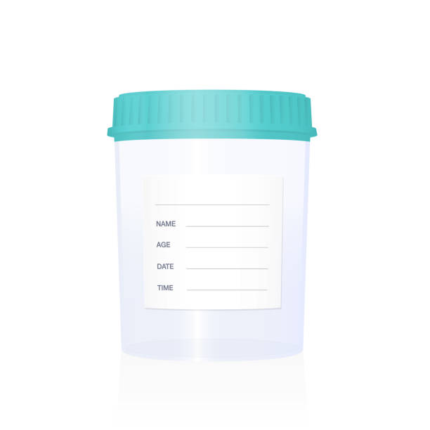 Specimen cup, empty with blank sticker to be labeled, medical laboratory item for examinations, checkups, clinical analysis and diagnosis. Isolated vector illustration on white background. Specimen cup, empty with blank sticker to be labeled, medical laboratory item for examinations, checkups, clinical analysis and diagnosis. Isolated vector illustration on white background. specimen holder stock illustrations