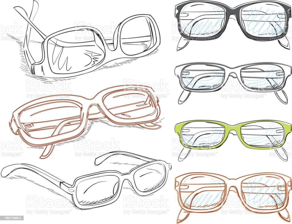 Spectacles Drawings Set vector art illustration
