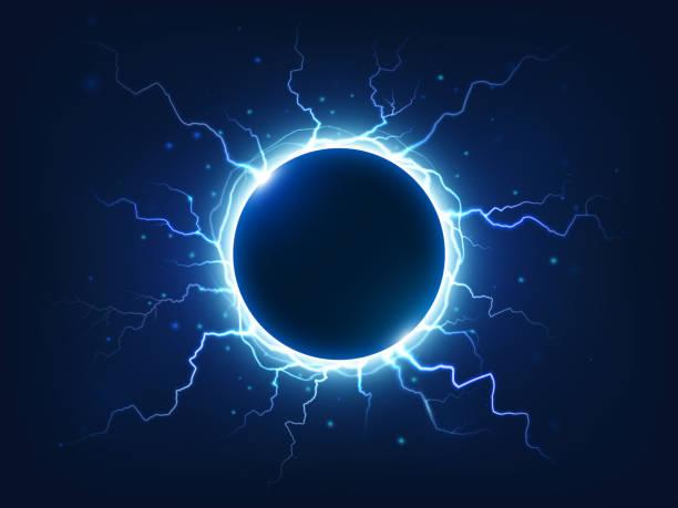 ilustrações de stock, clip art, desenhos animados e ícones de spectacular thunder and lightning surround blue electric ball. power energy sphere surrounded electrical lightnings vector background - storm effects