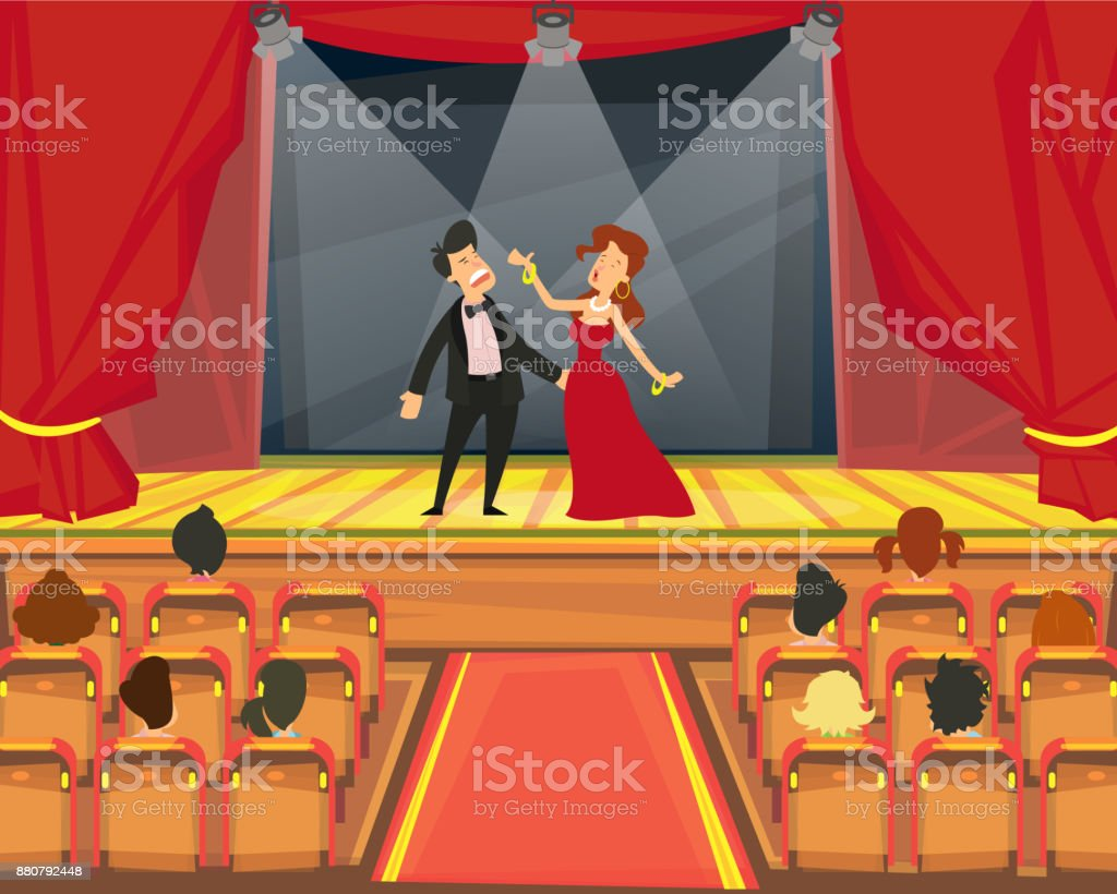 Espectadores ver representación en el teatro. - ilustración de arte vectorial