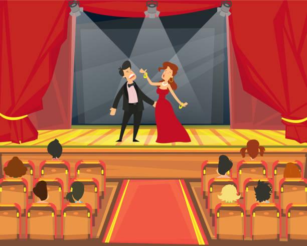 stockillustraties, clipart, cartoons en iconen met toeschouwers kijken vertegenwoordiging in het theater. - acteur