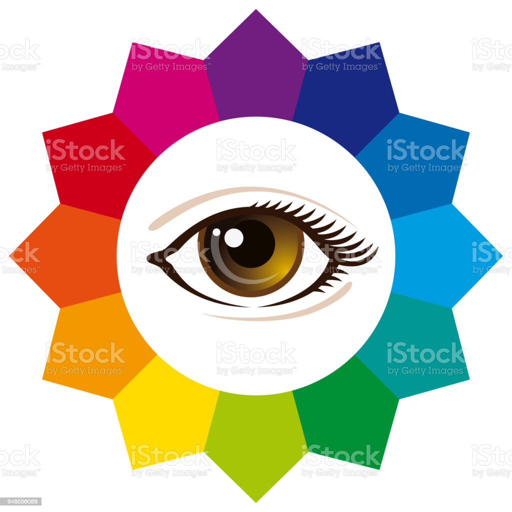 Spectrum Color Wheel With Human Eye Stock Vector Art More Images