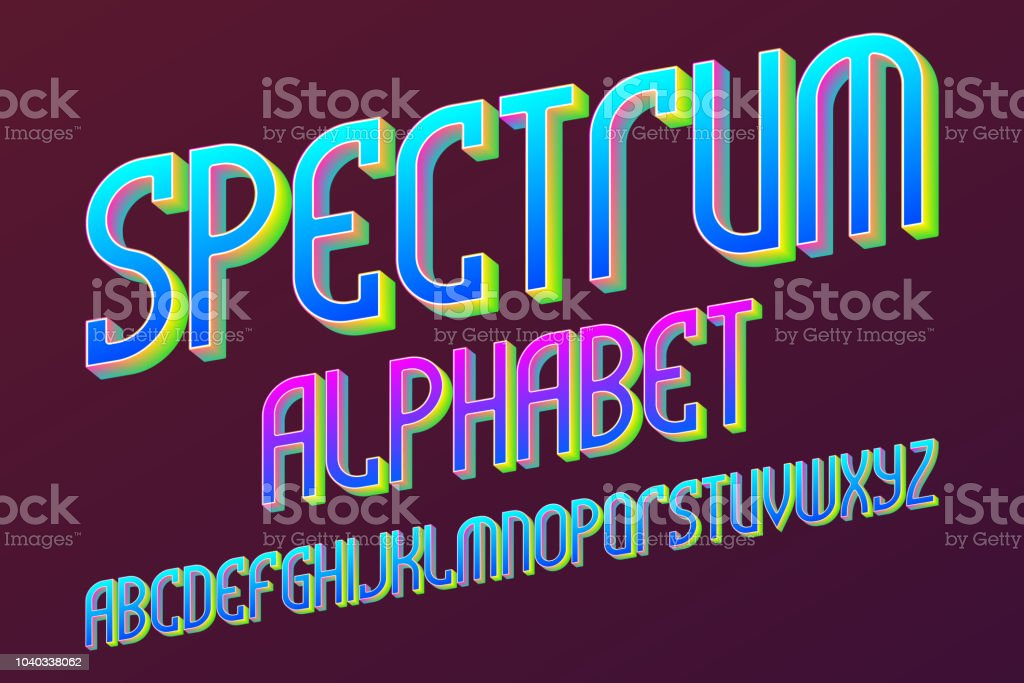 Spectrum colored alphabet. Iridescent artistic font. Isolated English...