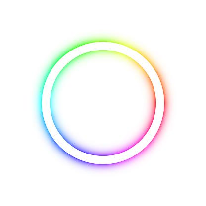 Spectrum illuminated ring on white background